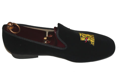 Black Velvet Loafers Embroidered Lions Head Motif