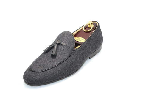 Smythe & Digby Men's Belgian Slipper Gray Flannel Loafers