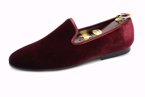 Smythe & Digby Men's Albert Slipper Leather Velvet Loafer Burgundy