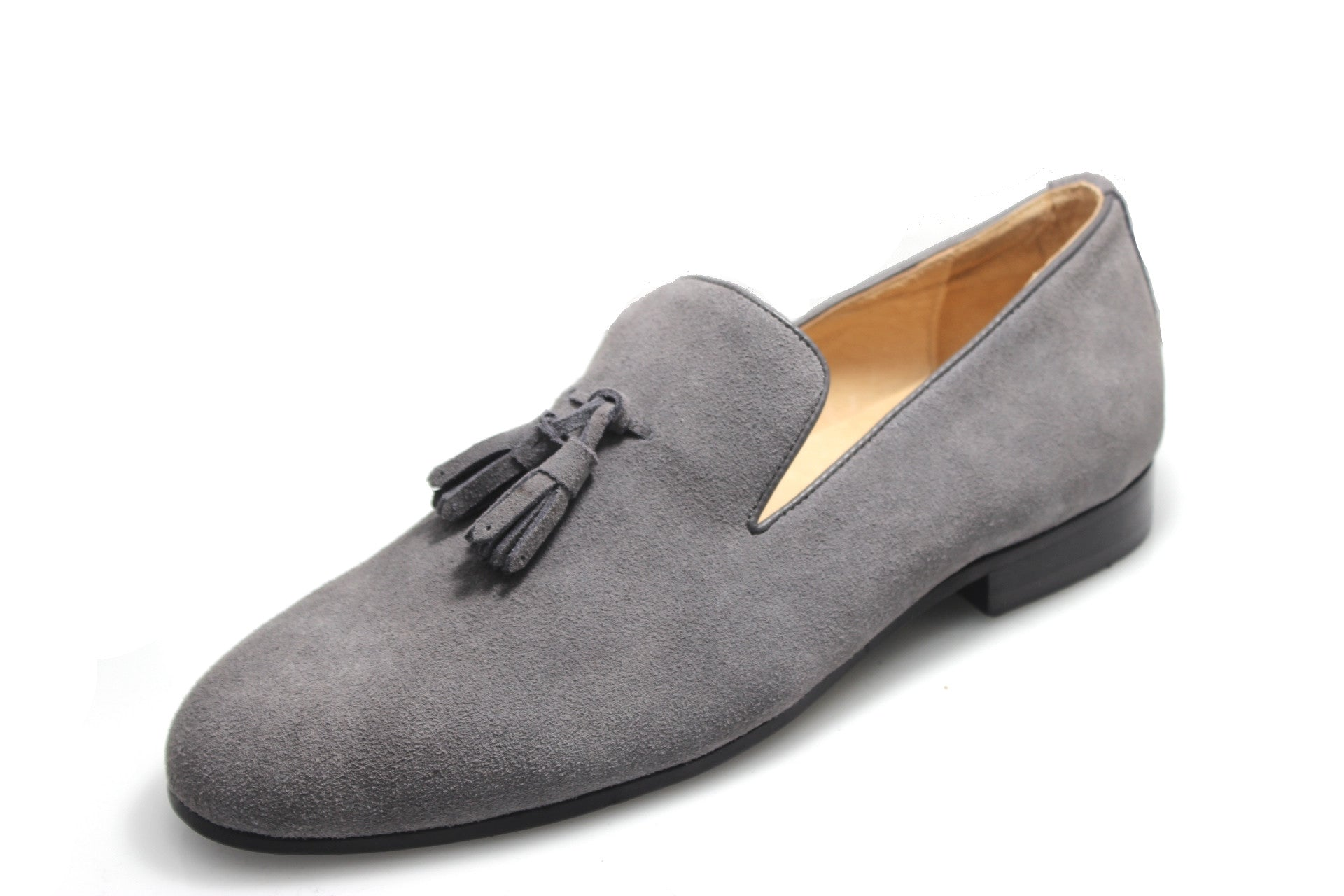 Smythe & Digby Men's Gray Suede Tassel Loafers