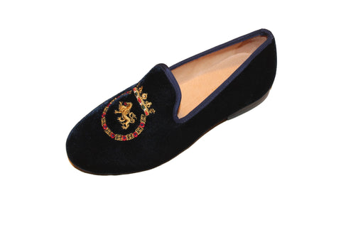 Navy Blue Albert Velvet Slippers Leather Loafers King Crest