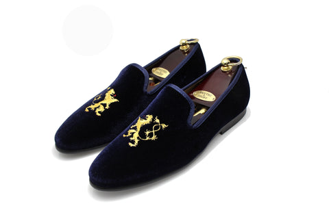 Navy Blue Men's Albert Slipper Leather Velvet Loafer Rampant Motif