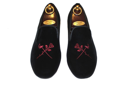 S&D Black Velvet Slippers Albert Loafers Rose and Sword Embroidered Motif