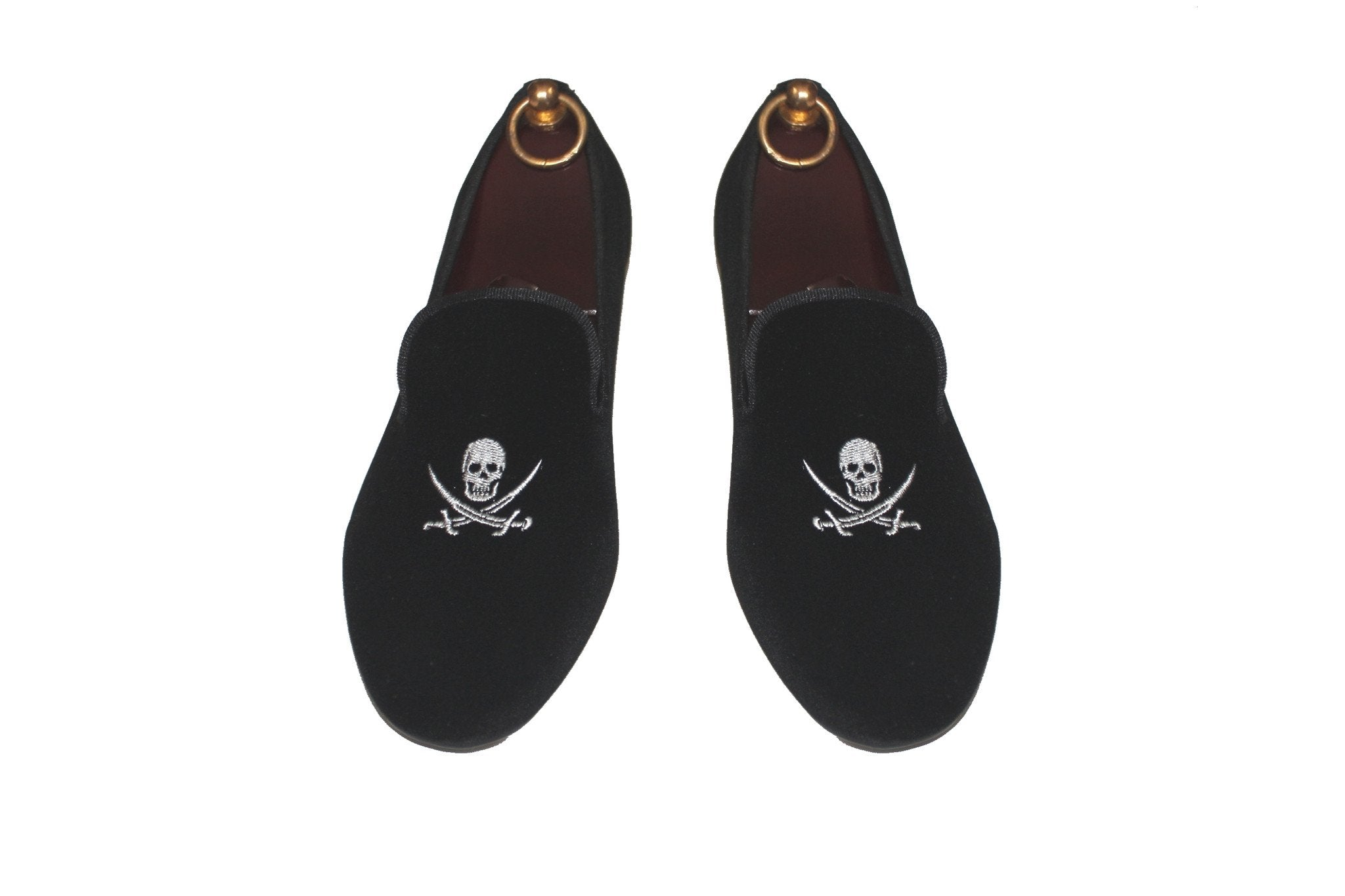 Black Velvet Loafers Skull and Swords Pirate Motif.