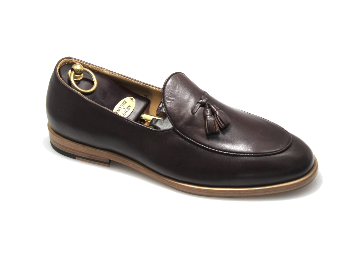 Men's Handmade Brown Leather Tassel Belgian Loafers
