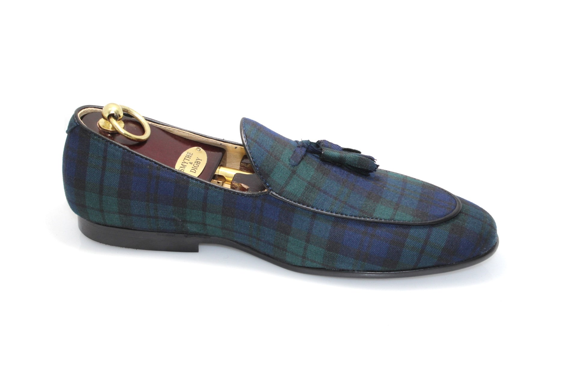 Smythe & Digby Men's Belgian Slipper Black-watch Tartan Loafers