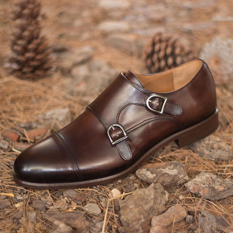 Goodyear Welted Calf Leather Double Monk Strap