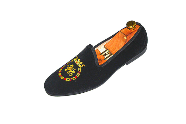Black Velvet Loafers Kings Crest Motif