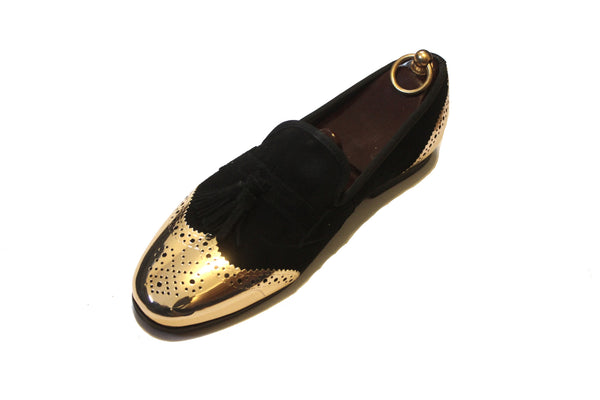 Limited Edition Gold Toe Cap Black Suede Tassel Loafers Princely