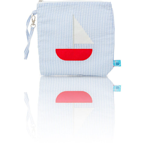 Seersucker Mini: Seaside Collection - Baby Blue/Sailboat