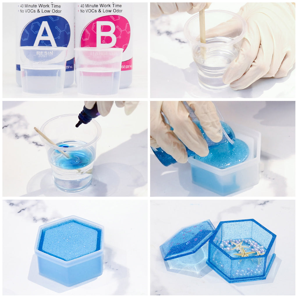 JDiction Epoxy Resin 1.13kg  16oz Epoxy Resin Crystal Clear Kit for Art, Jewellery, Craft with Mixing Cups, Sticks and Gloves