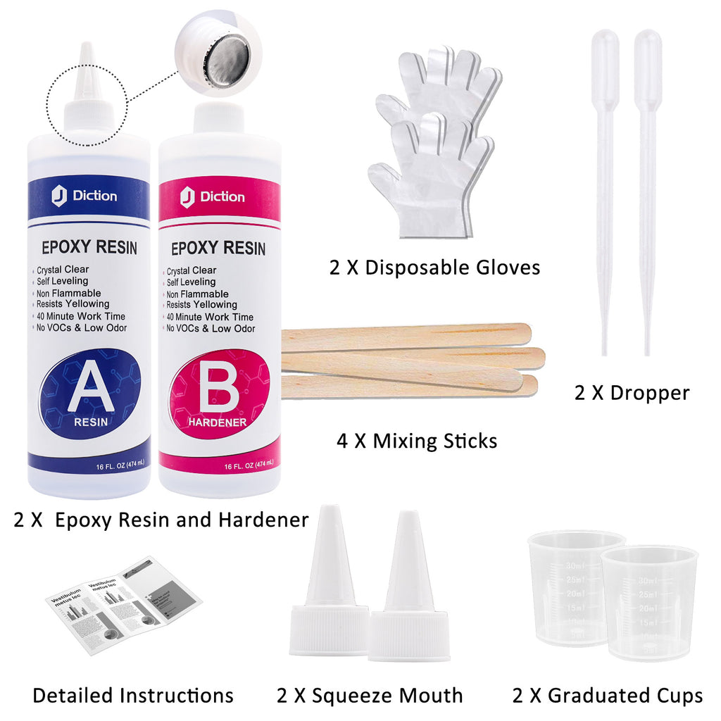JDiction Epoxy Resin 1.13kg  32oz Epoxy Resin Crystal Clear Kit for Art, Jewellery, Craft with Mixing Cups, Sticks and Gloves