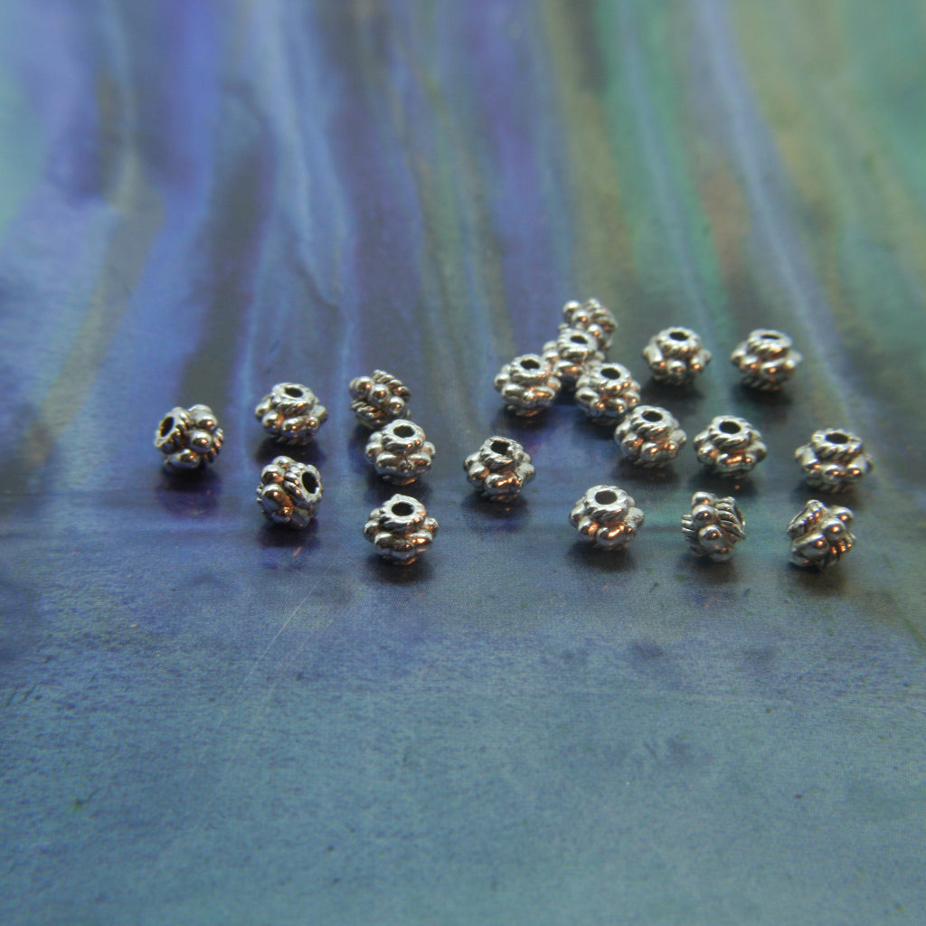 Spacer Bead in Antique Silver Bali style Metal Beads