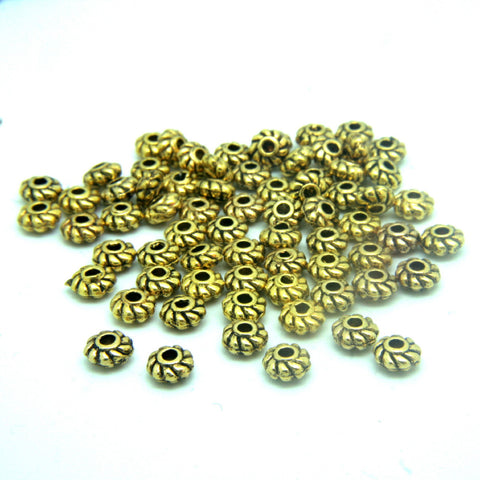 Antique Gold Spacer Bead small detailed 4mm rope pattern Bali style beads