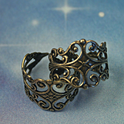Antiqued gold over brass filigree ring blank