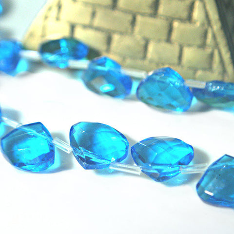 Blue Topaz Quartz Glass 12x10mm briolette faceted asst  Sapphire Emerald Plum Aquamarine