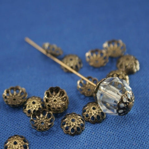 Brass Bead Cap Lacey Filigree Antiqued Gold