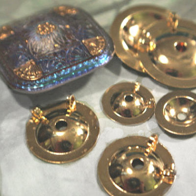 Button Converter turn Button into Pendant, Gold Plated BRASS medium size 2 back ring