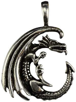 Celestial Amulet - Dragon Moon Pendant cast in genuine pewter