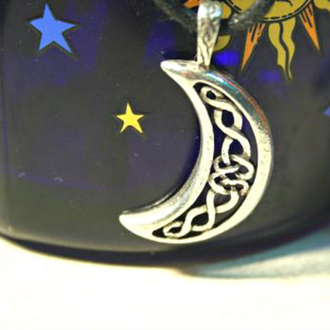 New Moon Pendant with intricate Celtic Knotwork  Celestial Charm