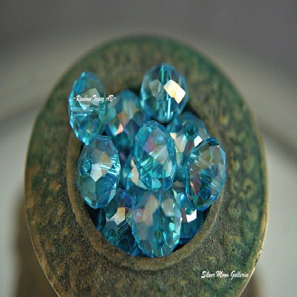 Crystal Rondelle 8mm RainbowTopaz AB multi faceted gemcut quality donut