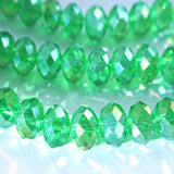 Crystal Rondelle Beautiful Spring Green/Rainbow 8x6 mm multi faceted A Grade gemcut donut 17in. strand