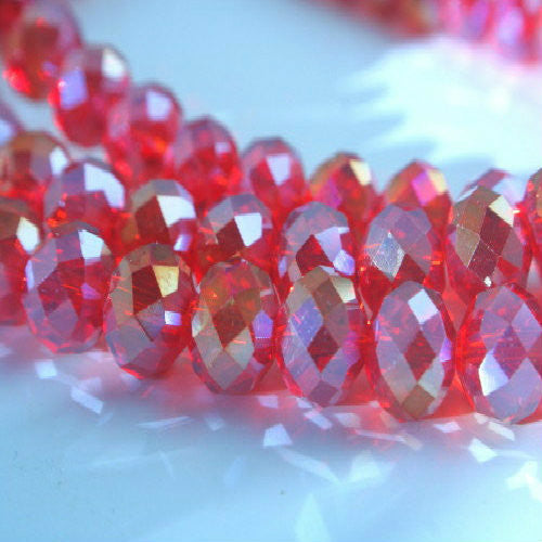 Crystal rondelle Siam Rainbow 8x6mm multi gemcut- faceted quality donut 17 inch strand