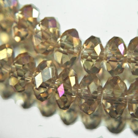 Crystal rondelle with Golden silver/ rainbow effects 10mm multi gemcut-faceted quality donut