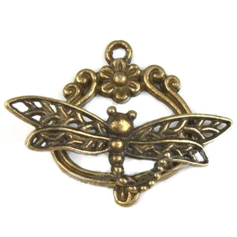 Dragonfly Toggle Clasp plated vintage gold 22x19mm  29mm length fancy nature toggle Connector
