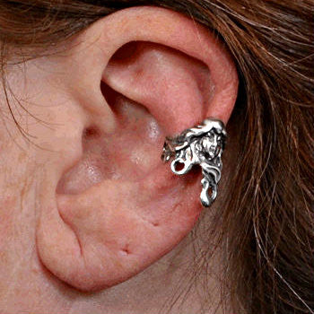 Ear Cuff ear wrap Art Nouveau Maiden cast in Sterling Silver