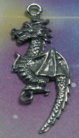 Genuine Pewter Rennaisance Dragon Pendant Charm 2 link connector 2 pc