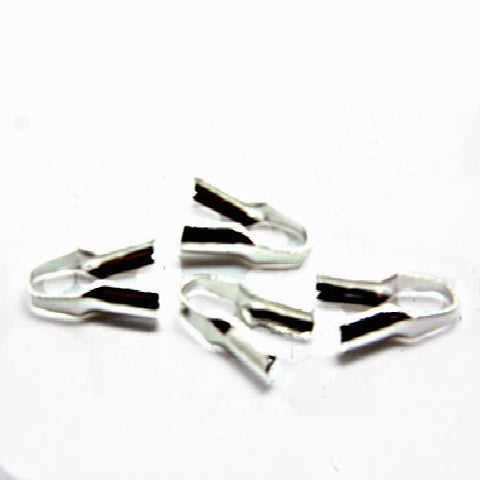Cord crimp ends Glue On necklace Connectors - silver color plated copper metal