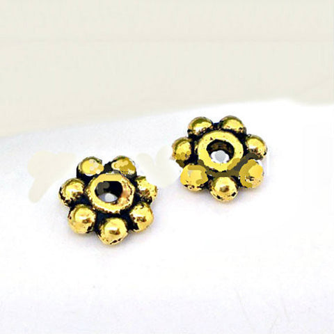 Tibetan small daisy spacer bead - Gold Tone Bali style beads