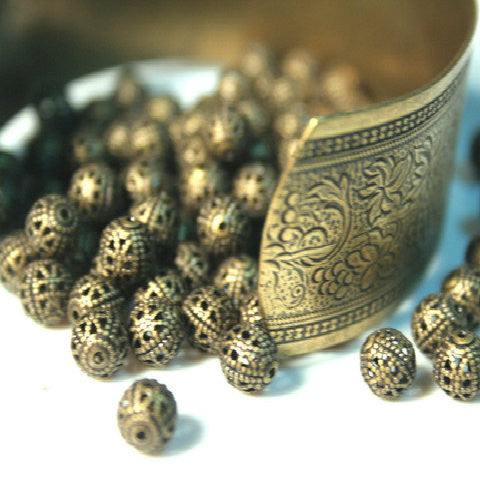 Golden Treasure 50pc brass ox antiqued filigree brass beads