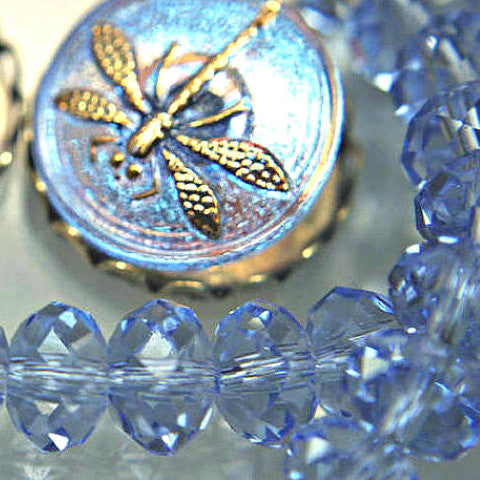 Lt. Sapphire Blue Multi faceted Crystal Puffy Gemcut Beads