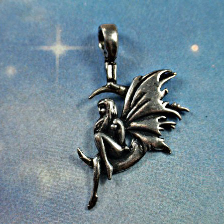 Fairy Sitting on the Moon Amulet genuine pewter