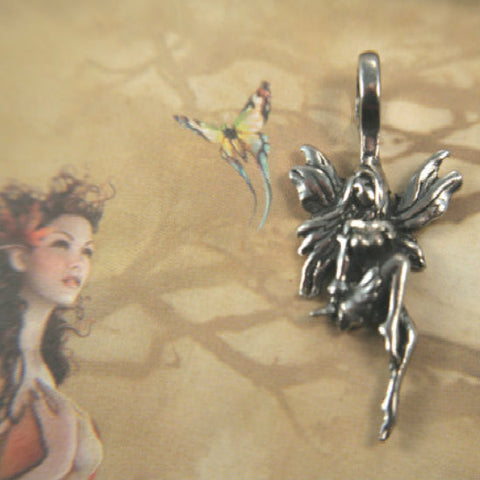 Lovely Sitting Fantasy Fairy Pendant cast in lead safe fine pewterpewter charm