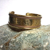 Om Symbols bracelet Cuff - engraved solid brass with intricate copper rope design borders