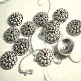 Pewter Bead Cap Ornate Antique Silver Granulated Bali Style 10x3mm spacer lead safe (20)