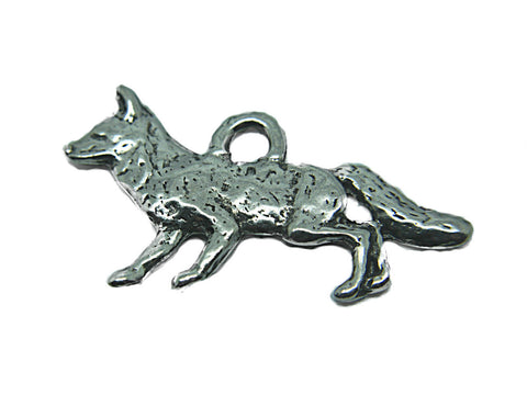 Silver Fox Pendant genuine pewter charms