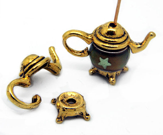 Teapot Bead Cap Pendant Component Sets Gold Plated Metal Findings