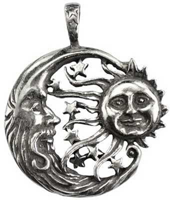Copy of Brother Sun Sister Moon Celestial Pendant Amulet Genuine Pewter Charm Connector