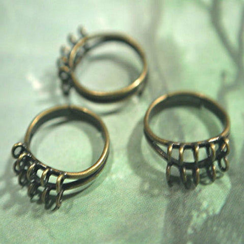 antique gold ring base solid brass 10, 3mm loops, ring shank
