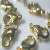 Gold plated BRASS lobster claw clasp connector wholesale 12x7mm