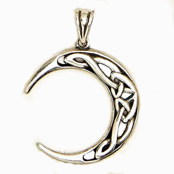 Celtic New Moon Pendant Intricate Celtic Knot Work Celestial Amulet Symbolic Pendant