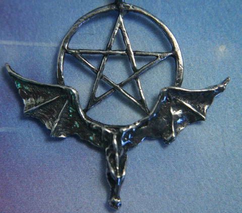 Dragon with Pentacle Amulet Dragon Power Pewter Pendant
