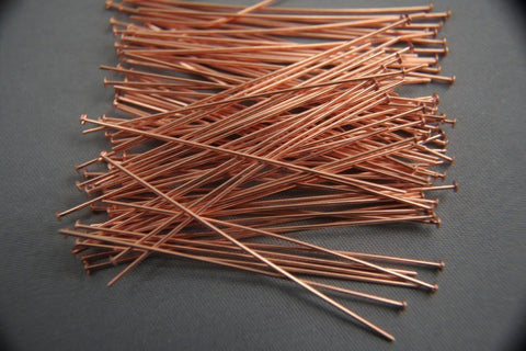 Solid Copper Headpins 2 inch 22 gauge 100pc