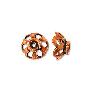 7mm bead cap antiqued solid copper delicate lacy flower
