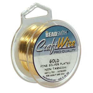 Craft wire, quality 22 gauge round gold non tarnish