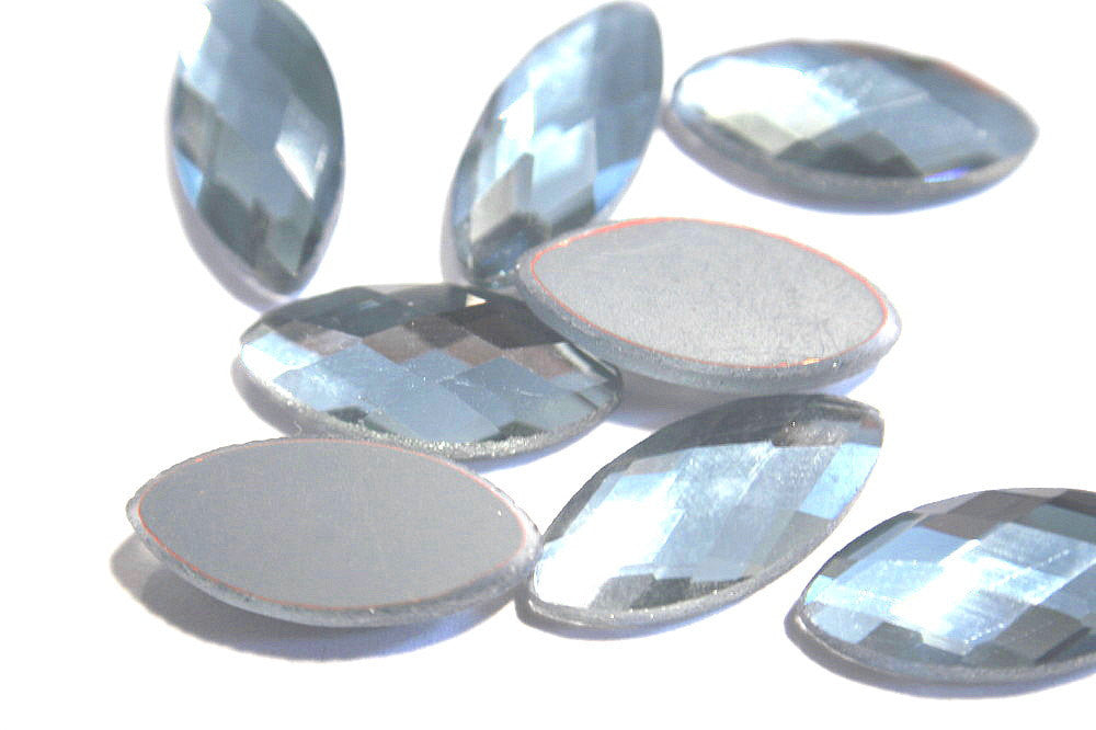 Faceted Navette Stones - Glass Cabochon - Electroplated, Multiple Color choice  - 23x10mm
